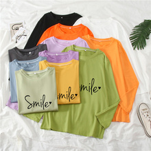 Long Sleeve Polychromatic Women's T-Shirt O-Neck Printed Letter Smile Female Fashion Casual Streetwear Loose Ladies Top Spring