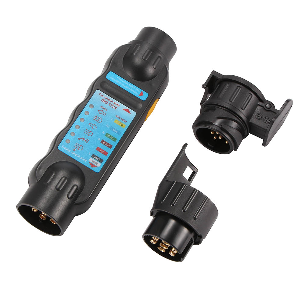 TiOODRE Car Trailer Tester 7/13 Pin Towing Light Cable Circuit Plug Socket With 2 Adapters 12V Electrics Diagnostic Tools