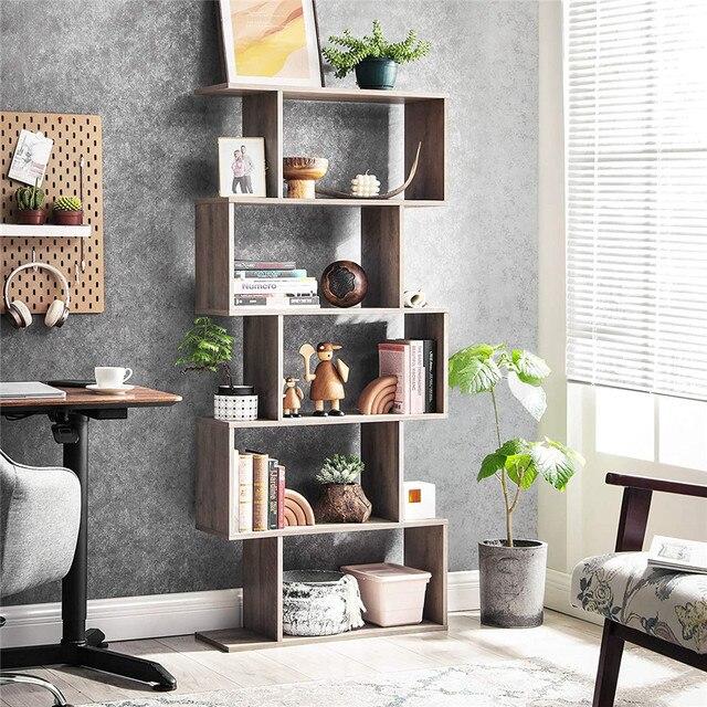 Staggered Bookcase Wooden Industrial Style 5-Tier Display Rack Room Divider Freestanding Storage Shelf Bookshelf Vintage Color 4