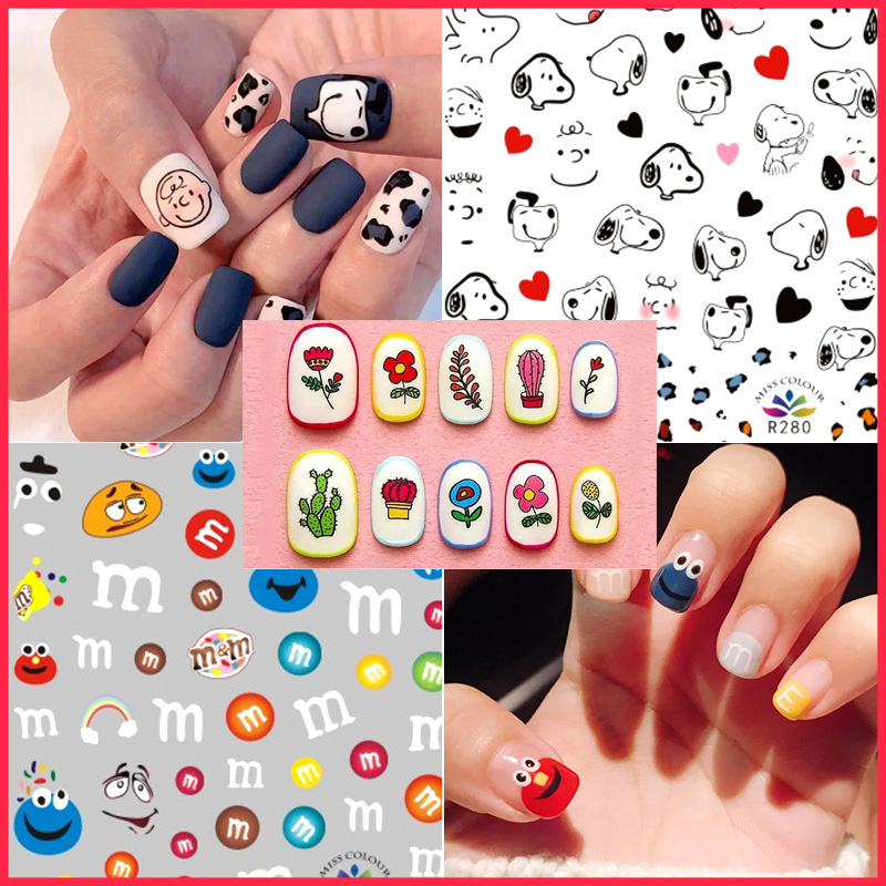 9 Designs Nail Decal And Stickers Cartoon Fruit/Green Leopard/Cactus And Flowers/ Avengers/M&M's/Snoopy Girl Nail Tips DIY