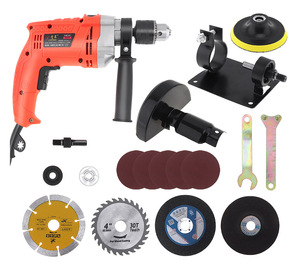 Electric Drill +17pcs 13mm Electric Drill Cutting Seat Conversion Tool Accessories with Grinding Wheel for Punching/Polishing