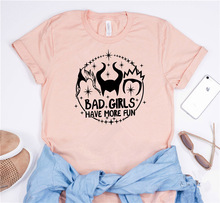 купить Bad Girls Have More Funny Vogue Print Tee Short Sleeve O Neck White Korean Fashion Clothes New Summer Tunic Cotton Women T Shirt дешево