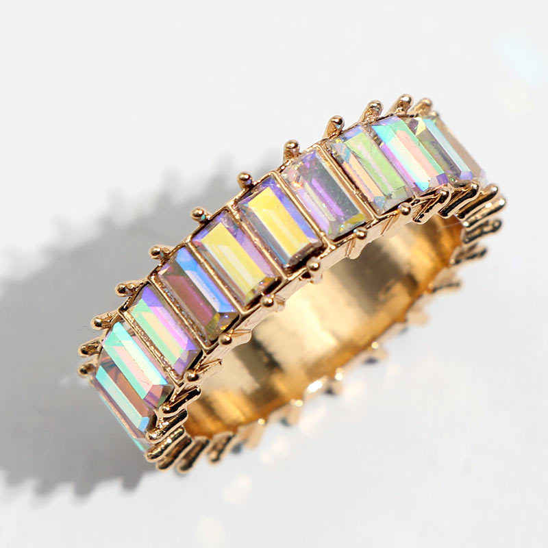 FIONTO 2019 Hot Sale Rainbow Ring Silver 925 Thin Gold Ring Line Micro Pave Cz Eternity 9 Colors Stack Rainbow Women Ring CA4583