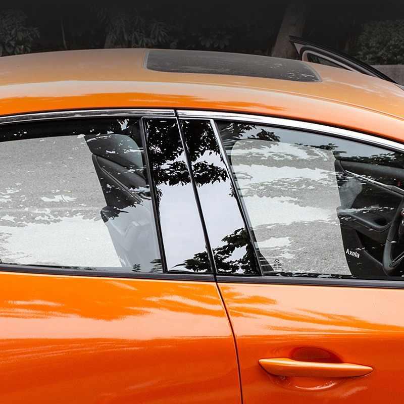 Pcmos Stainless Window Pilar Posts Menutupi Trim untuk 2019 2020 Mazda 3 Sedan Hatchback Eksterior Chromium Styling Stiker 8Pcs baru