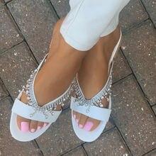 Повседневные женские сандалии стразы с жемчугом тапочки ручной