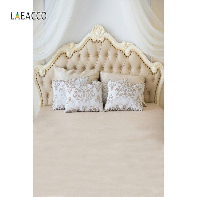 Laeacco Bedboard כריות ראש המיטה דמשק וילון משפחת יילוד צילום רקע צילום תפאורות צילום סטודיו