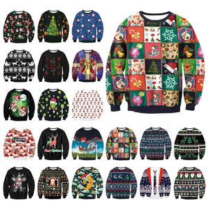 Śmieszne boże narodzenie Santa bluza z nadrukiem mężczyźni/kobiety Crewneck brzydka bluza świąteczna odzież 3d grafika jesienno-zimowa