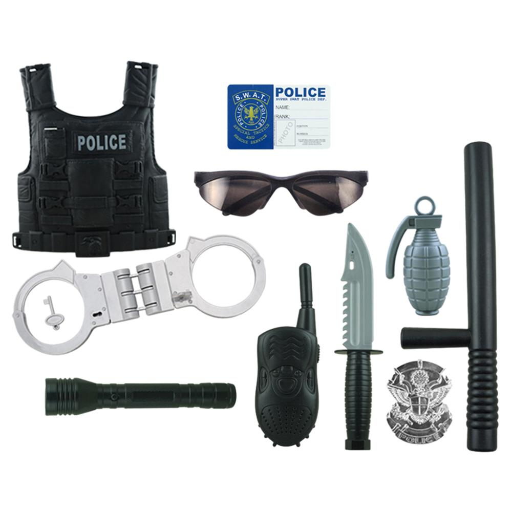 New 13Pcs/set Children Simulation Policemen Pretend Role Play Kits Costume Cop Dress-up Clothes Playset For Boys Kids Play Set