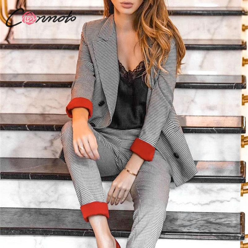 Conmoto Autumn Winter 2019 Checkered Blazer Women Office Lady Checkered Suit High Fashion Female Suit Plus Size Blazer Set