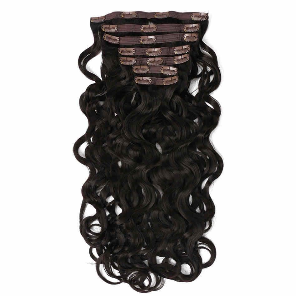 Belleza en línea Clip sintético en extensiones de cabello Color marrón oscuro doble trama onda del cuerpo 7 unids/lote 24 pulgadas
