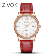 Women's 24-hour Chronograph Red Leather Strap Quartz Watches with Luminous Hands Waterproof Wristwatch megir men s chronograph quartz watches stainless steel analogue wristwatch for man 24 hour display waterproof luminous