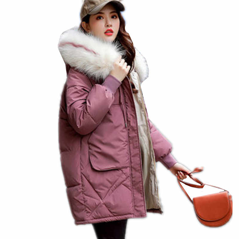 Winter Women Warm Jacket 2019 New Style Fashion Fur collar Hooded Thickening Cotton Casual Loose Large Size Women Parkas G1152