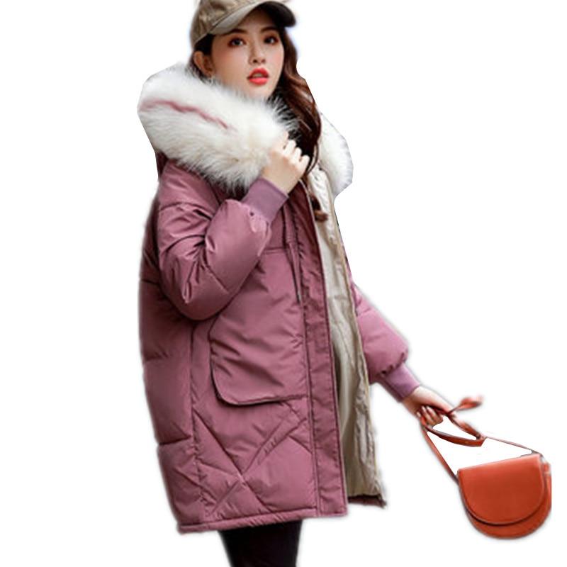 Chaqueta cálida de Invierno para mujer 2019 nuevo estilo de moda Cuello de piel con capucha engrosamiento de algodón Casual suelto de talla grande Parkas para mujer G1152