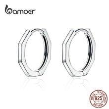 BAMOER-pendientes de aro geométricos minimalistas para mujer, de Plata de Ley 925 auténtica, aros para los oídos pequeños y sencillos, joyería fina SCE622