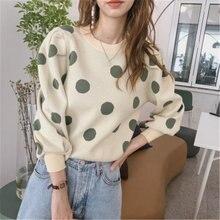 Женские короткие свитера в горошек осенне зимние новые корейские
