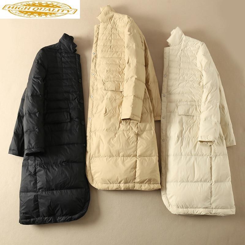 2020 Women's White Goose Down Jacket Long Puffer Down Coat Winter Auutmn Korean Womens Down Jackets Coats KJ3596