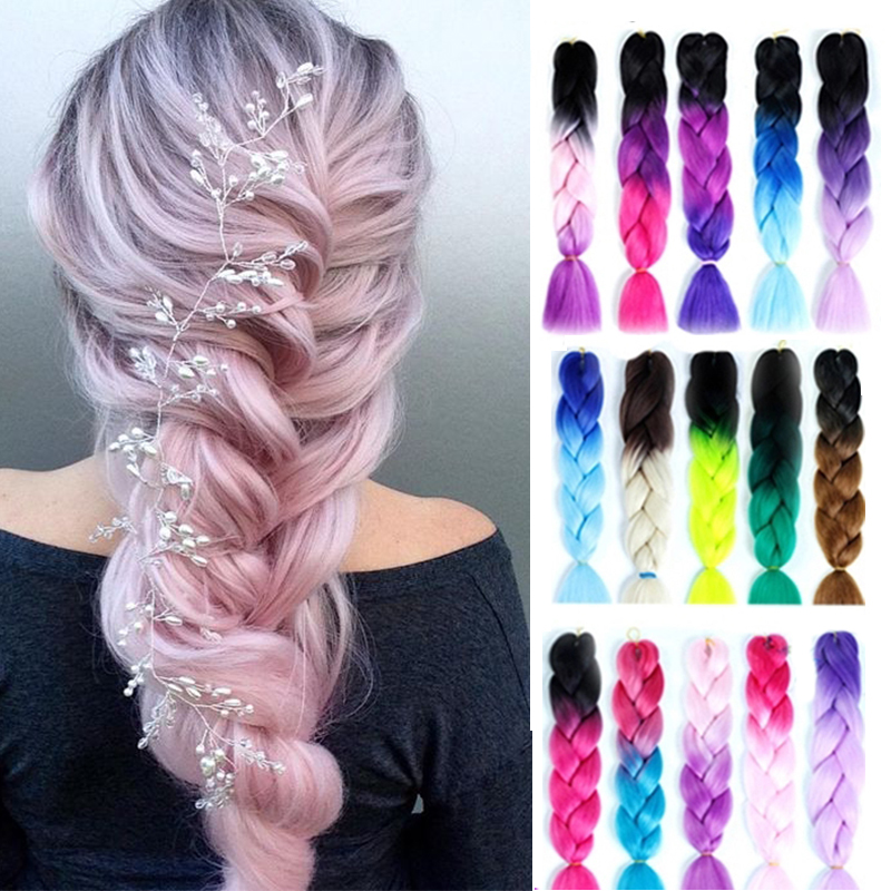 LUPU 24 Inches Jumbo Braid Synthetic Hair Extensions Crochet Box Braid Pink Purple Blonde Ombre Braiding Hair Heat Resistant