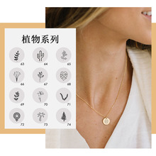 316L Titanium Steel Necklace Simple Stainless Geometric Round Pendant Female New Lettering Plant