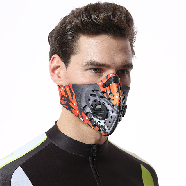 Men/Women Activated Carbon Dust-proof Cycling Face Mask Anti-Pollution Bicycle Bike Outdoor Training mask face shield half face 2