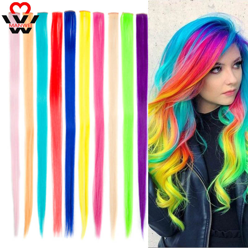 MANWEI Long Straight Color Hair Piece Hair Extensions Clip In Highlight Rainbow Hair Streak Pink Synthetic Hair Strands On Clips