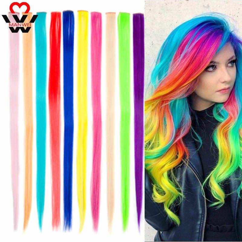 MANWEI uzun düz renk saç parçası saç ekleme klip vurgulamak gökkuşağı saç çizgi pembe sentetik saç tellerinin klipler üzerinde