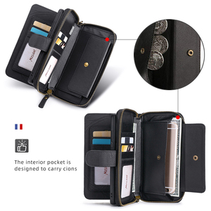 Image 4 - Megshi multifuncional caso de telefone couro para huawei p20 p30 p40 mate20 mate30 caso zíper bolsa coque