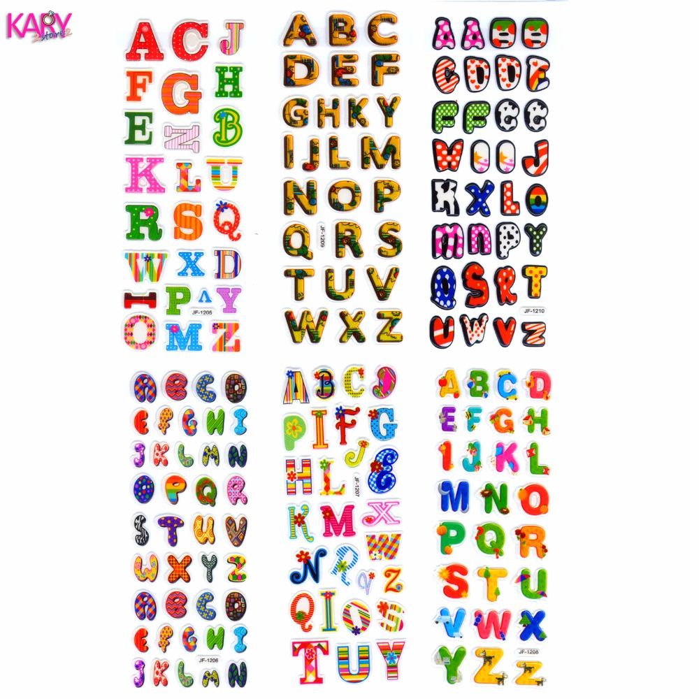 6 Sheets Scrapbooking Cute Kawaii Letters Gifts Teachers Reward Kids Children Toys Bubble Puffy Stickers Factory Direct Sales