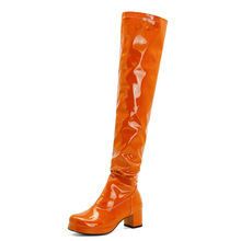 Orange Oversized Patent Leather Thick-Heeled Over-The-Knee Boots Green Bright Leather Boots Purple Mid-Heeled Boots Yellow Red