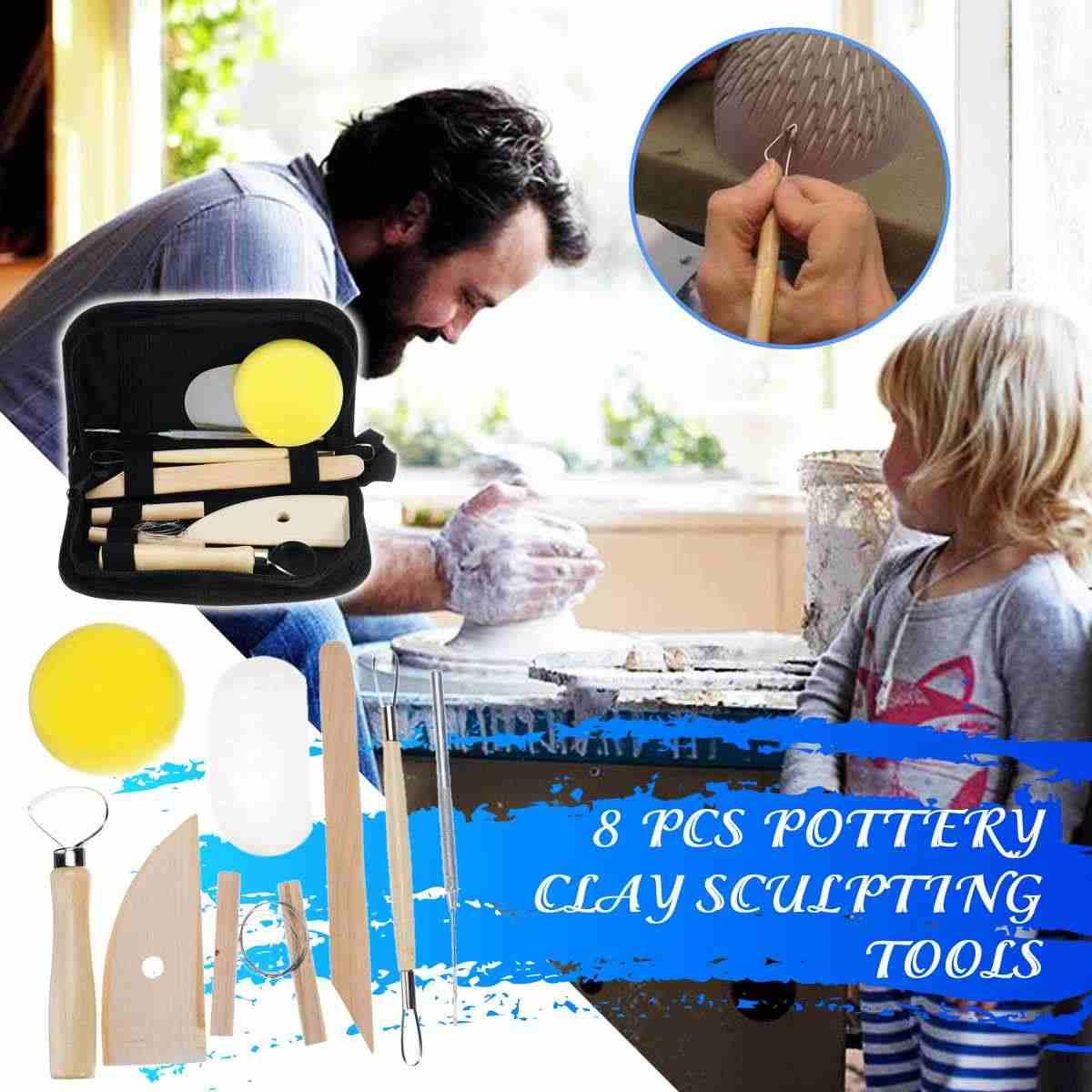 8 Piece Set Clay Ceramics Molding Tools Wood Knife Pottery Tool Kit Practical DIY Craft For Home Handwork Supplies