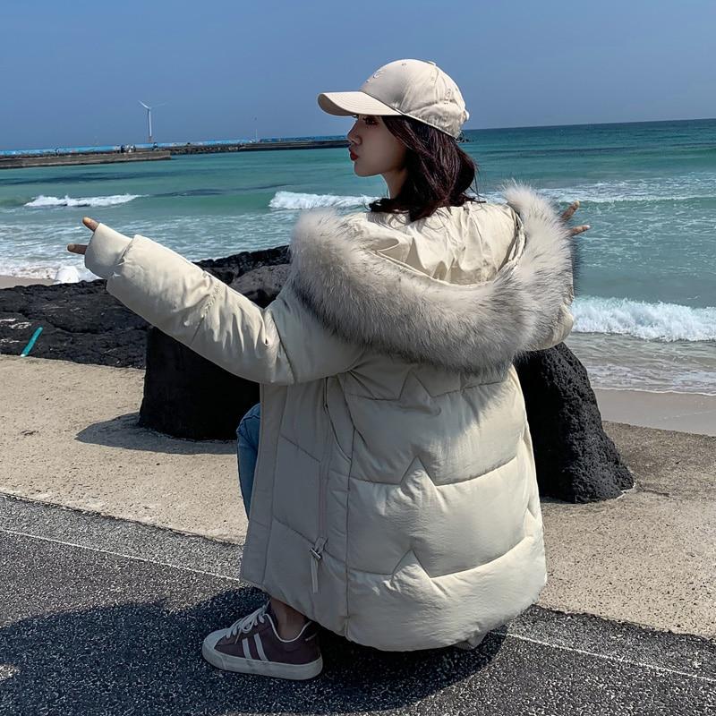Женское хлопковое пальто большого размера, белая верхняя одежда с большим меховым воротником, короткая куртка с капюшоном, Толстая теплая п