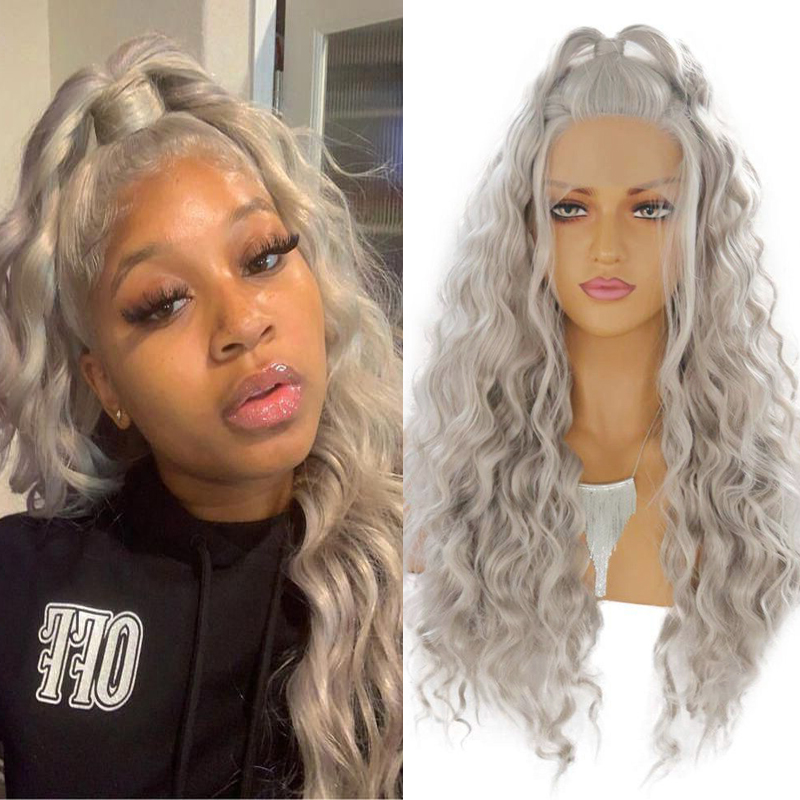 RONGDUOYI Gray High Temperature Fiber Hair Lace Wig Synthetic Lace Front Wigs For Women Long Loose Wave Heat Resistant Grey Wig
