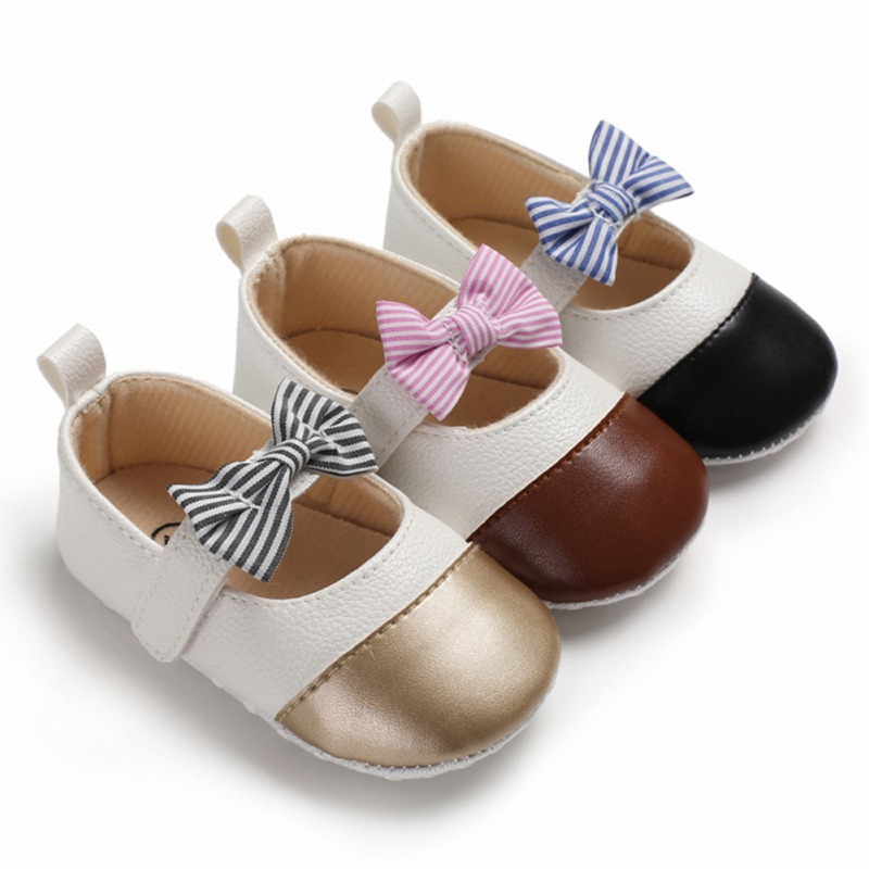 Baby Girls Shoes PU Leather Waterproof Baby Butterfly-knot Shoes Newborn Moccasin Soft Infants Prewalker 0-18M
