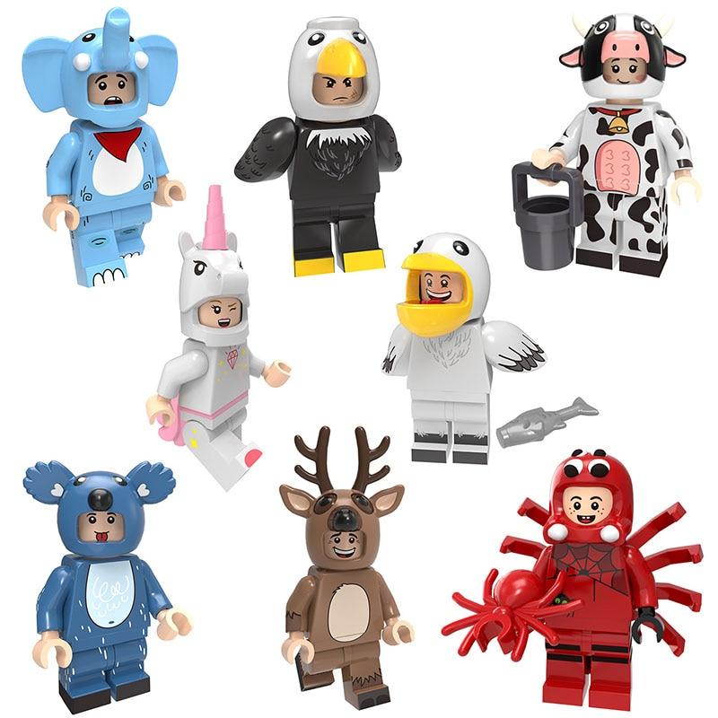 Зоопарк животное щенок Микки Ститч Русалка Единорог птица мини игрушка фигурка Кирпич игровой набор миниатюрный строительный блок совместим с Lego - Цвет: 8pcs B