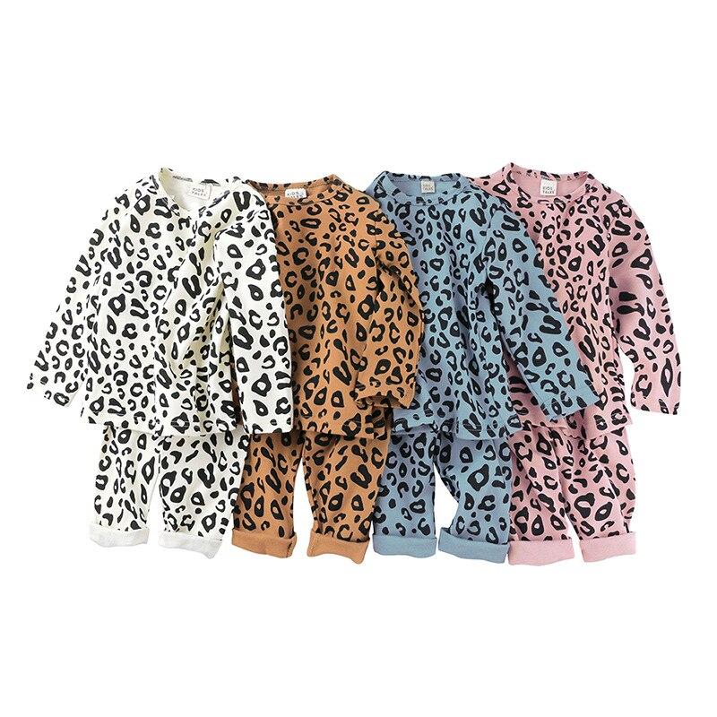 Spring Autumn Baby Boys Girls Pajamas Set 6M-6yrs Children Kids Print Leopard Sleepwear Lounge Wear Cotton Girls Evening Dress