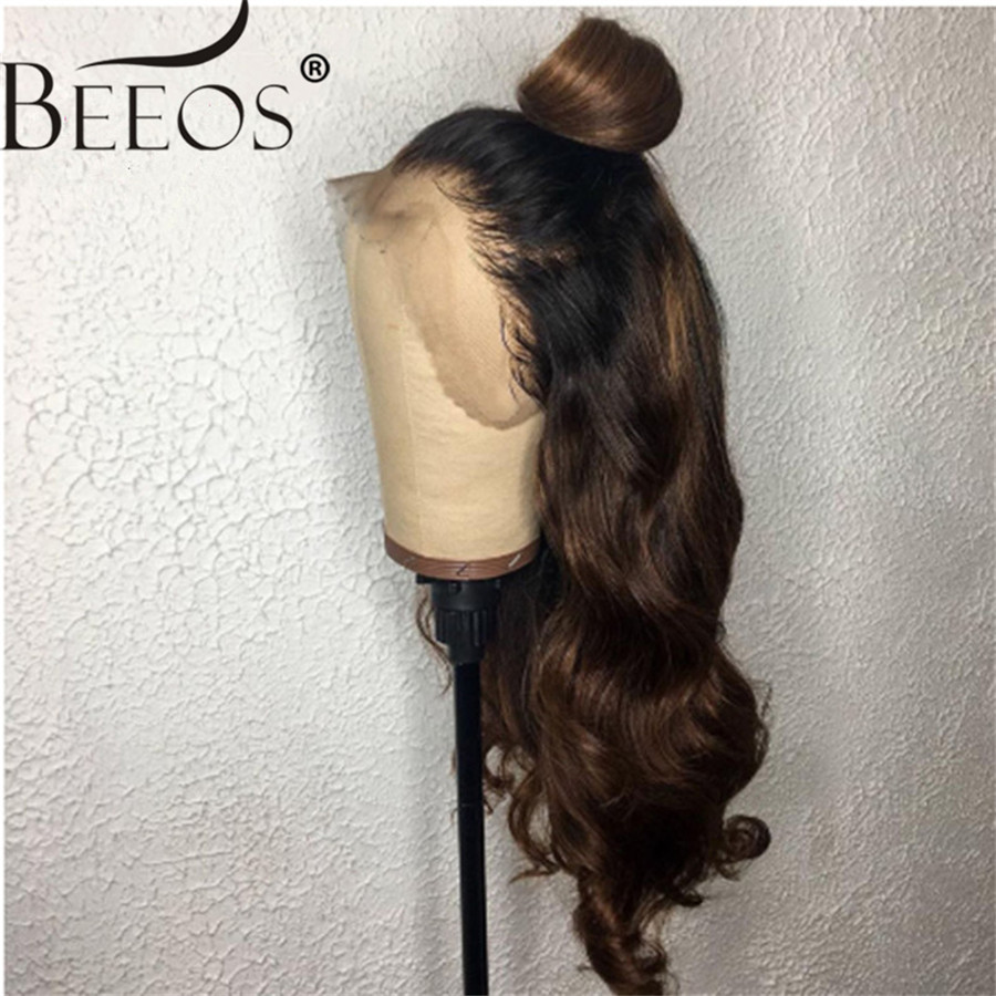 13*6 Deep Part Lace Front Human Hair Wigs Body Wave Ombre Brown Brazilian Remy Hair Wigs Pre Plucked Bleached Knots For Women