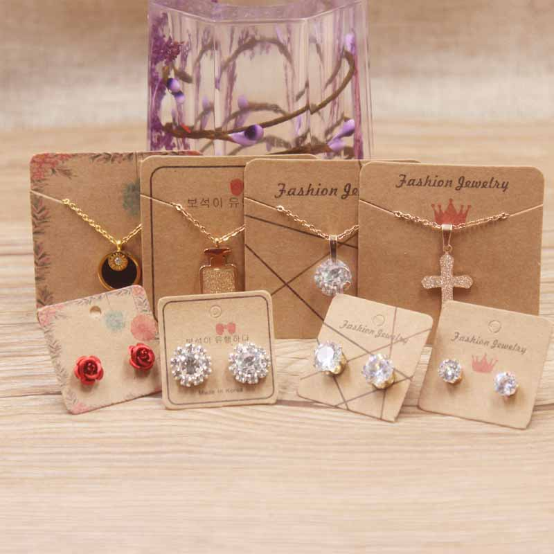 100pcs Fashion Jewelry Display Necklace Pendant Charm Cards Hang Favor Label Tag For Jewelry Making Diy Accessories Wholesale