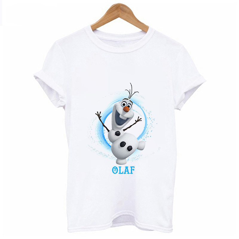 Women Fashion Harajuku Short Sleeve T-shirt White Plus Size Cute Tshirt Female Tops Clothing 2019 New Frozen Printed T Shirt