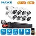 SANNCE 8CH 5MP Проводная NVR POE камера безопасности Система 5MP IP66 наружная IR-CUT CCTV Canera видео регистратор комплект