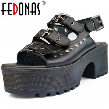 FEDONAS Retro Metal Decoration Women Sandals Genuien Leather Platforms Thick Heels Pumps 2020 Summer Dancing Party Shoes Woman
