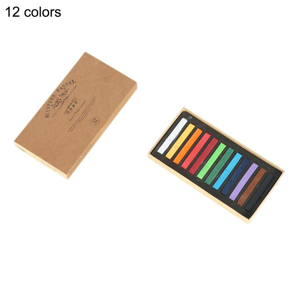 12 Colors Easy Use Drawing Line Stick Toner Portable Smooth Hair Dye Soft Pastel Painting Chalk Set Brush Bright Color