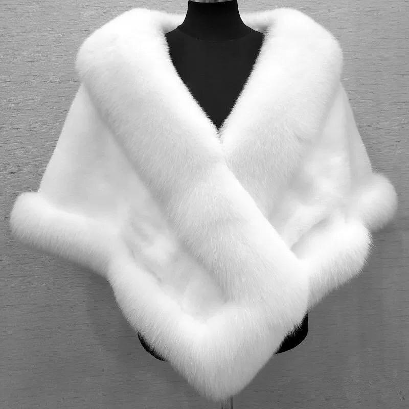 2020 Autumn Winter Fox Fur Bridal Wraps Evening Dress Shawl Cloak Scarf Female Party Cocktail Coats