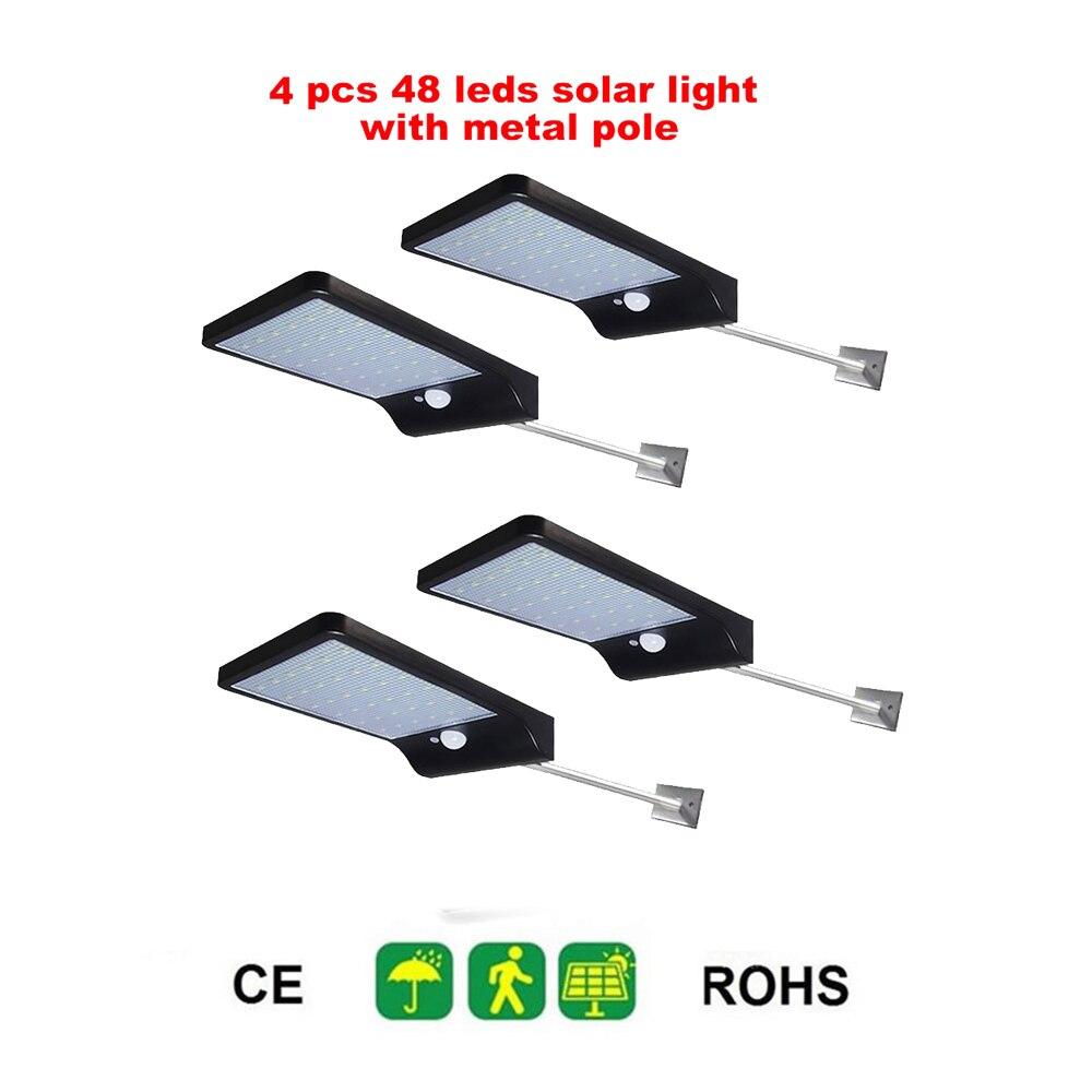 2/4pcs 48 LED Solar Power Street Light PIR Motion Sensor Lamps Waterproof Wall Light Outdoor Street Garden Security Light Securi
