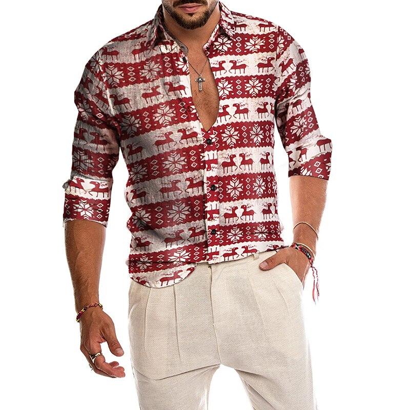 Men Shirt 2019 Men's Christmas Shirt Party Casual Button Down Dress Shirt snowman Snowflakes deer Blouses Christmas Shirt men