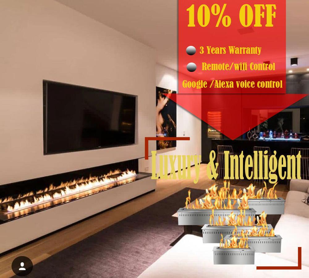 Hot Sale 60 Inch Indoor Stove Intelligent Bio Ethanol Chimney Remote Fireplace
