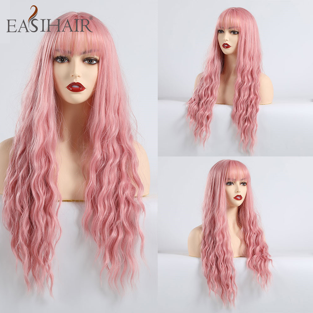 EASIHAIR Long Wave Pink Part Cosplay Wigs With Bangs Synthetic Wigs For Black White Women Colorful Fiber Hair High Temperature