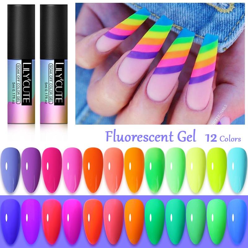 LILYCUTE 5ml Fluorescent Nail Gel Glow In Dark  Neon UV LED Gel Yellow Green Soak Off Gel Varnish Lighting In Night Nail Gel