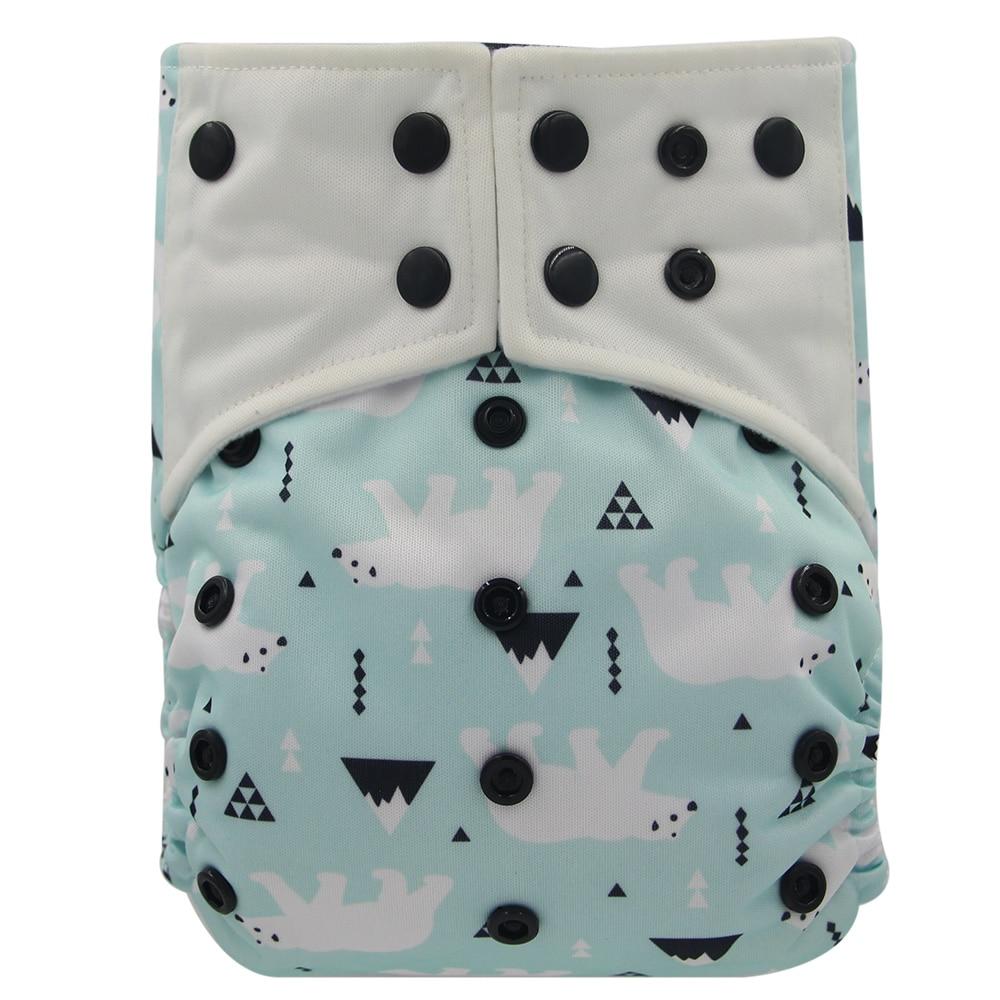 Детские многоразовые подгузники Ohbabyka, регулируемые подгузники с двойные вставки, все-в-двух, AI2, карман из бамбукового угля, тканевый чехол д...