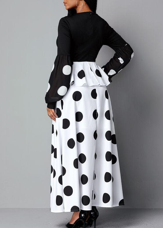 New Black Retro Bodycon Long Sleeve Maxi Dress