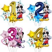 Balloons Baby Number Birthday-Party-Decorations Mickey Mouse Globos Shower 6pcs Kids