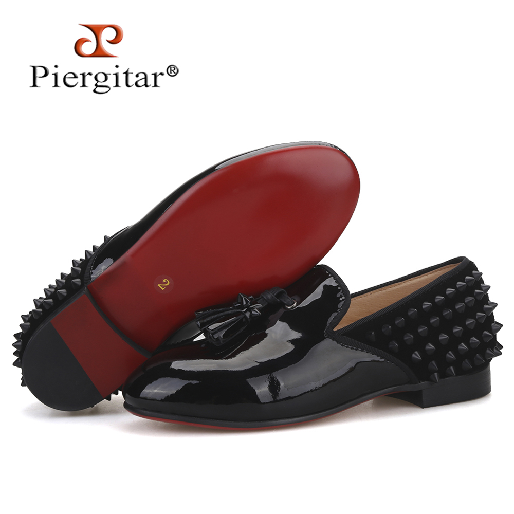 Piergitar 2020 New Same Men Loafers Design Parental Shoes Handmade Children Spikes Tassel Shoes Party And Birthday Kid's Loafers
